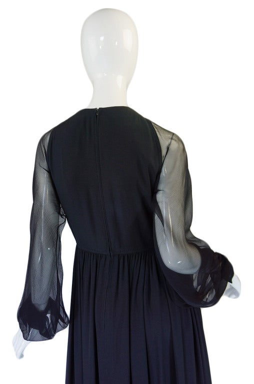 1960s Black Silk & Chiffon Galanos Balloon Sleeve Dress 6