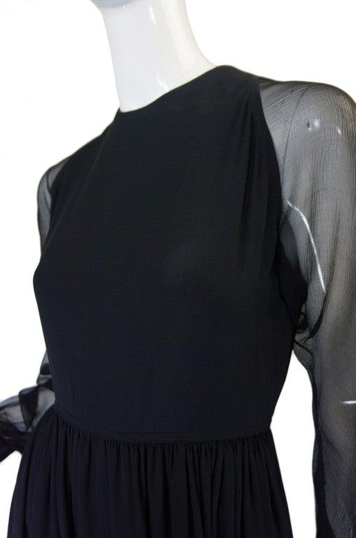 1960s Black Silk & Chiffon Galanos Balloon Sleeve Dress For Sale 3