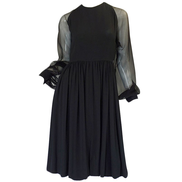 1960s Black Silk & Chiffon Galanos Balloon Sleeve Dress 1