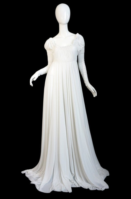 1970s Norma Kamali White Jersey Gown 2