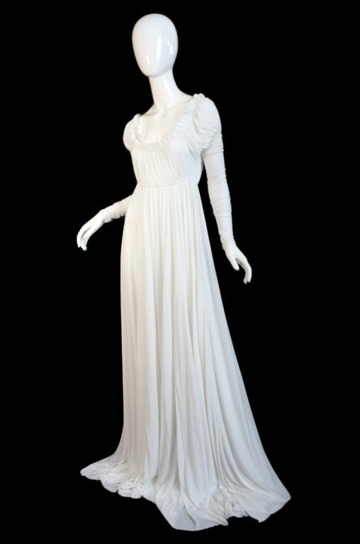 1970s Norma Kamali White Jersey Gown 3