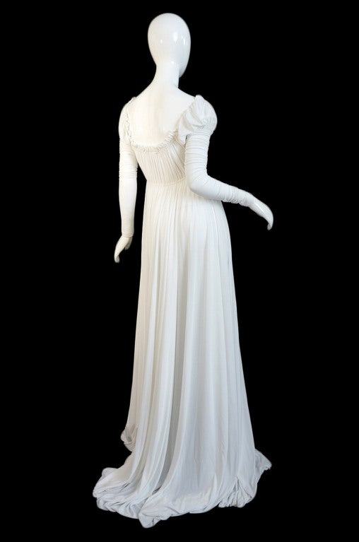 1970s Norma Kamali White Jersey Gown 4