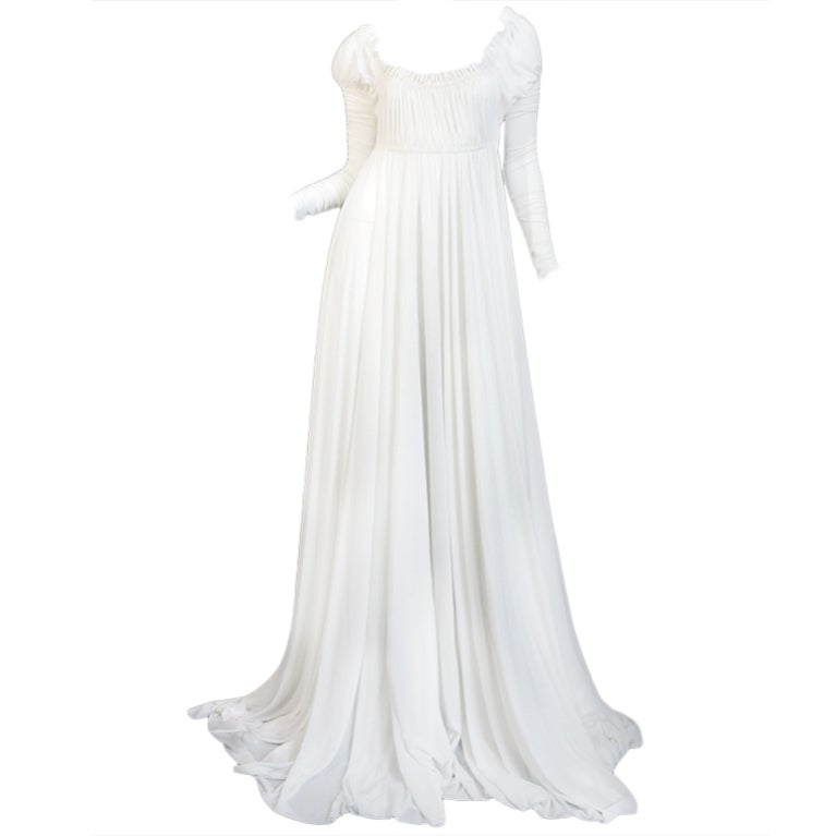 1970s Norma Kamali White Jersey Gown 1