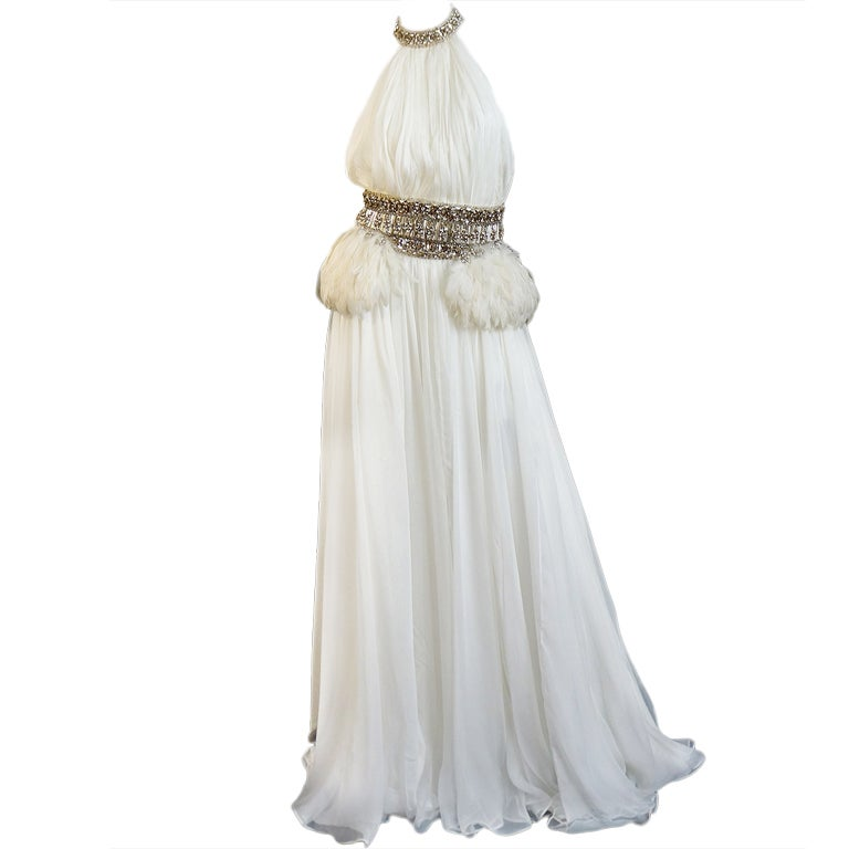 PF/W2011 McQueen Crystal Feather Gown 1