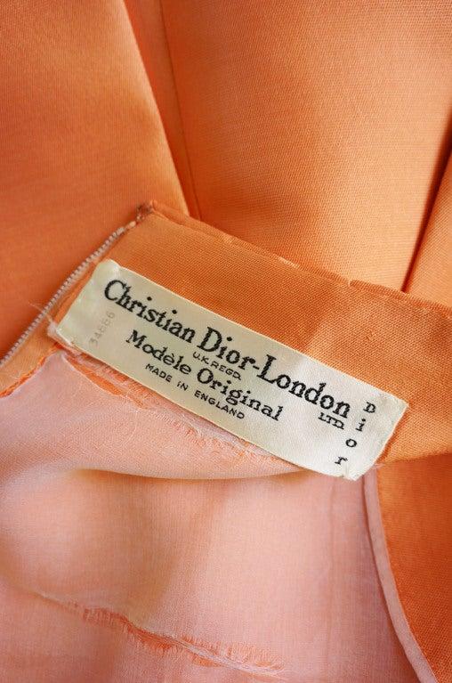 c1965 Numbered Christian Dior London Simple Silk Dress 10