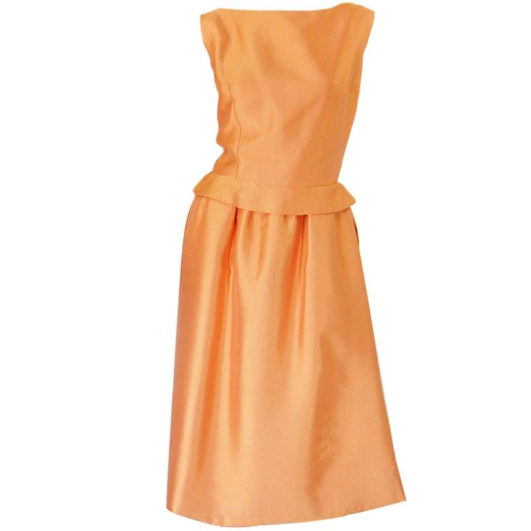c1965 Numbered Christian Dior London Simple Silk Dress 1