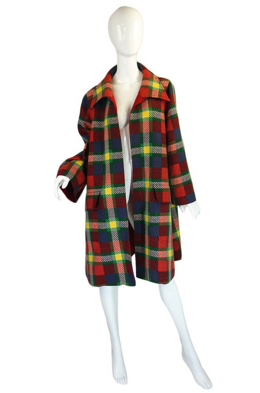1970s Valentino Plaid Swing Coat 2