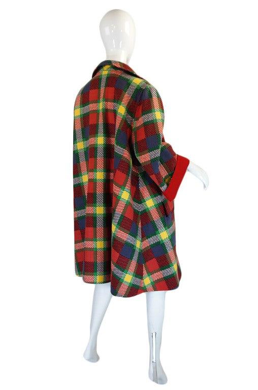 1970s Valentino Plaid Swing Coat 3