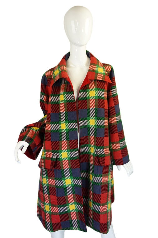 1970s Valentino Plaid Swing Coat 4
