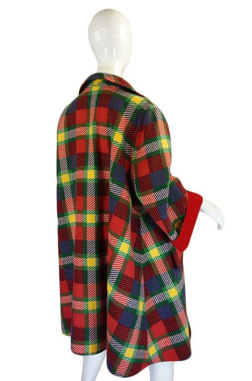 1970s Valentino Plaid Swing Coat 5