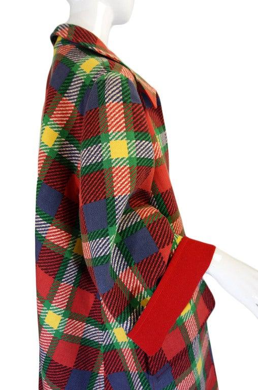 1970s Valentino Plaid Swing Coat 6