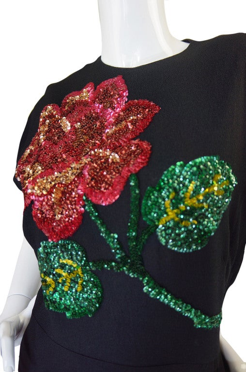 1940s Silk & Sequin Flower Swing Dress image 7