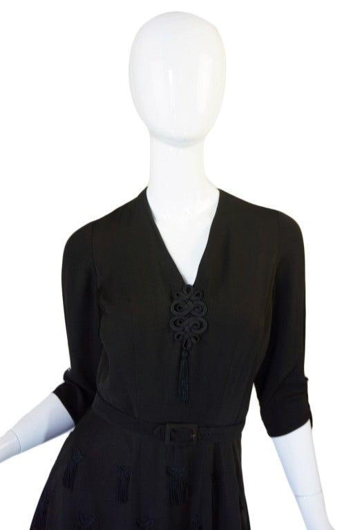 1940s Silk Tassle & Cord Swing Dress 3