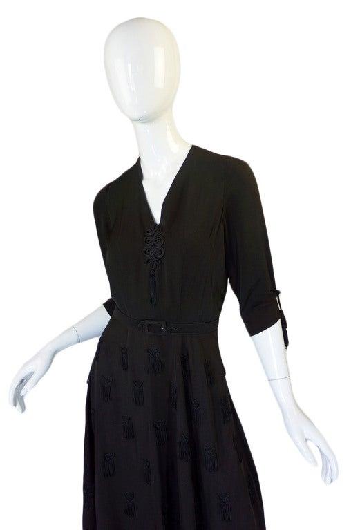 1940s Silk Tassle & Cord Swing Dress 4