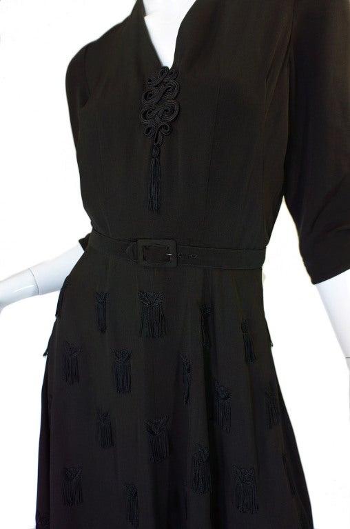 1940s Silk Tassle & Cord Swing Dress 6