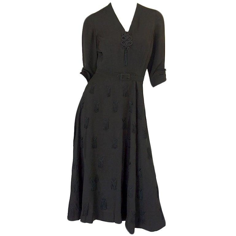 1940s Silk Tassle & Cord Swing Dress 1