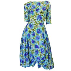 1950s Blue Floral Silk Front Bow Dress