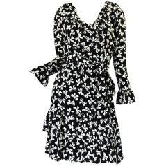 1970s YSL Silk Tiered Skirt Bow Dress