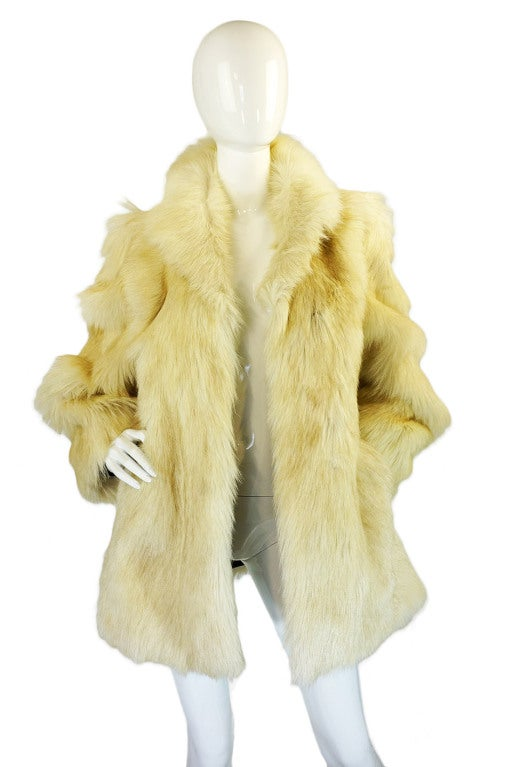1970s Shaggy Goat Cream Fur Jacket 2