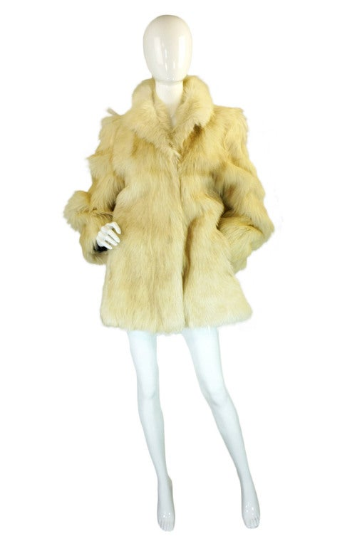 1970s Shaggy Goat Cream Fur Jacket 3
