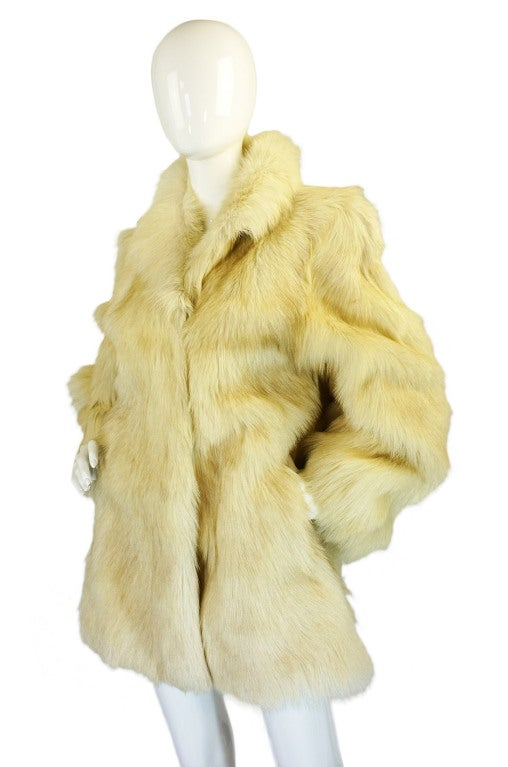 1970s Shaggy Goat Cream Fur Jacket 4