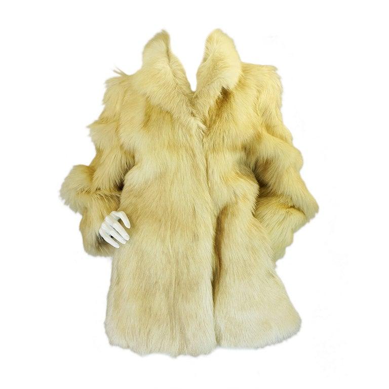 1970s Shaggy Goat Cream Fur Jacket 1