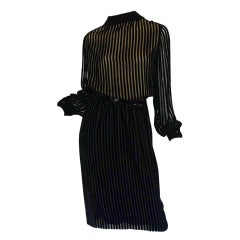 1960s Jean Louis Demi-Couture Silk Chiffon & Velvet Dress