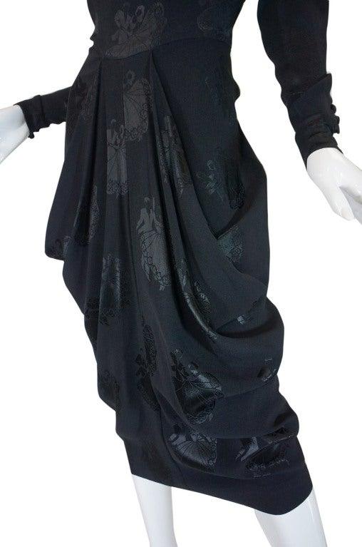 1940s Silk Draped Femme Fatale Dress 7