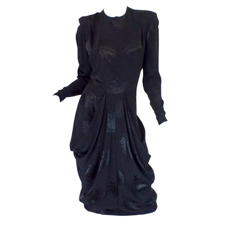 1940s Silk Draped Femme Fatale Dress 1