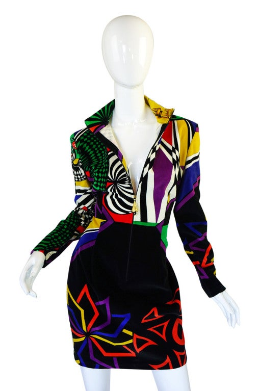 1990s Gianni Versace Versus Velvet Dress 4