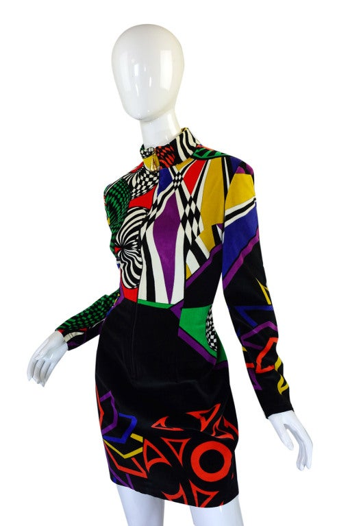 1990s Gianni Versace Versus Velvet Dress 5