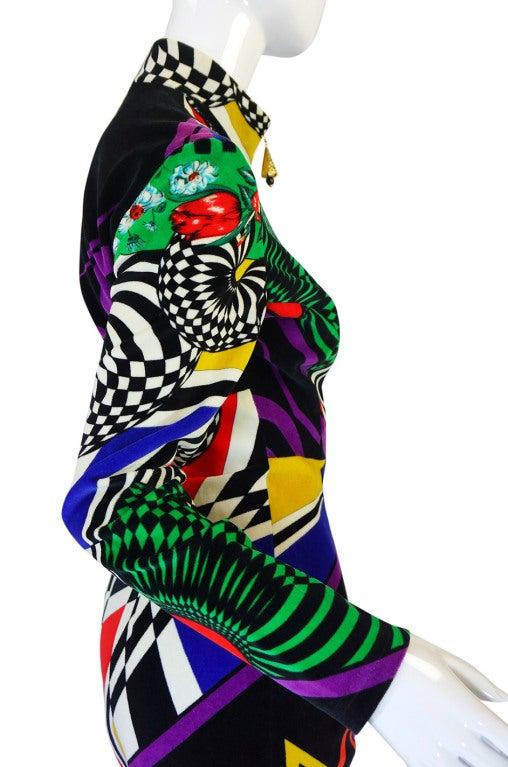 1990s Gianni Versace Versus Velvet Dress For Sale 4