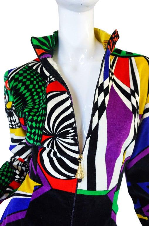 1990s Gianni Versace Versus Velvet Dress For Sale 5