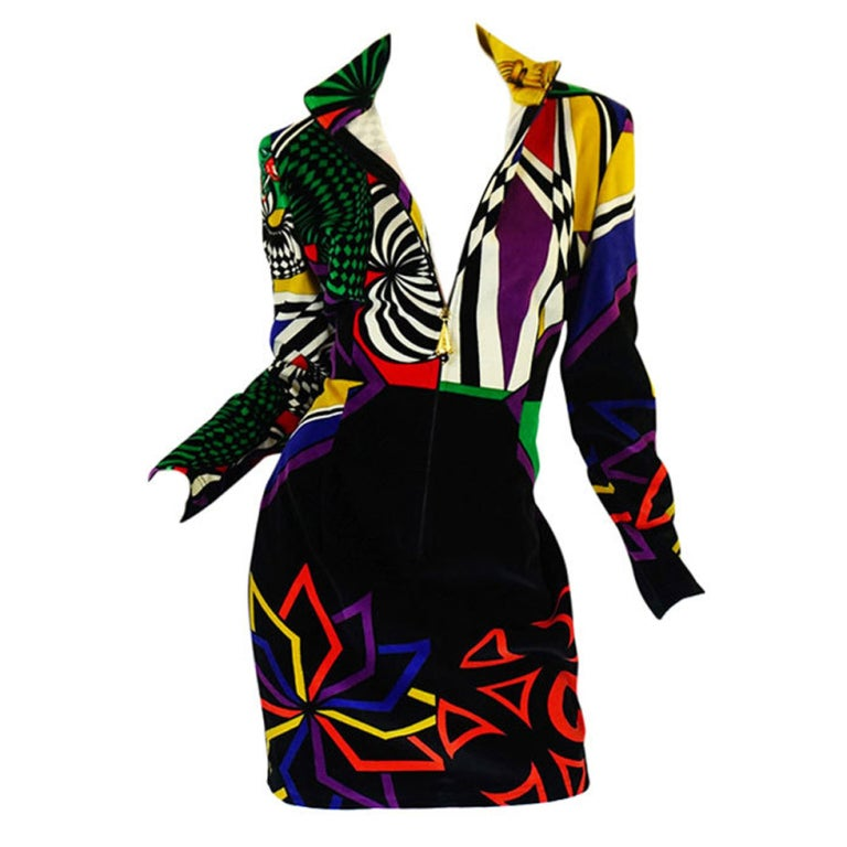 1990s Gianni Versace Versus Velvet Dress