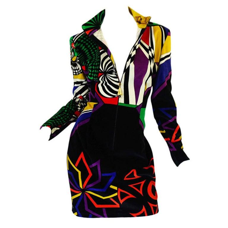1990s Gianni Versace Versus Velvet Dress For Sale