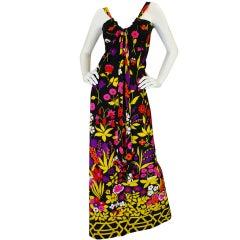 1970s Lanvin Floral Jersey Halter Dress