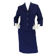 Pierre Balmain 1950s Numbered Haute Couture Button Back Suit