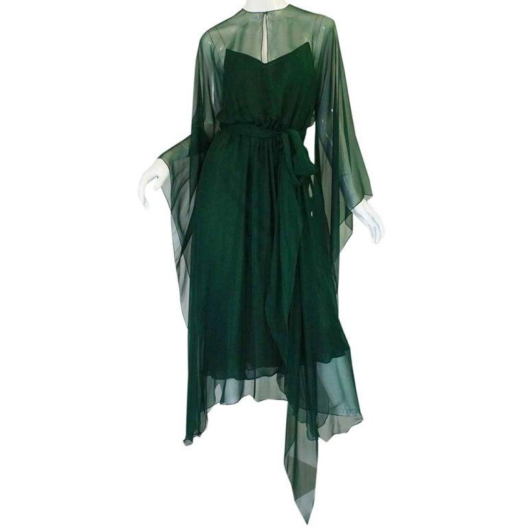 1970s Rare Halston Silk Chiffon Gown at 1stdibs