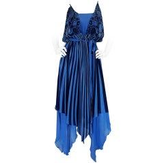1970s Roland Klein Silk Chiffon Dress