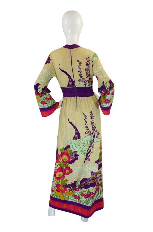 1970s Print Knit Goldworm Maxi Dress 2