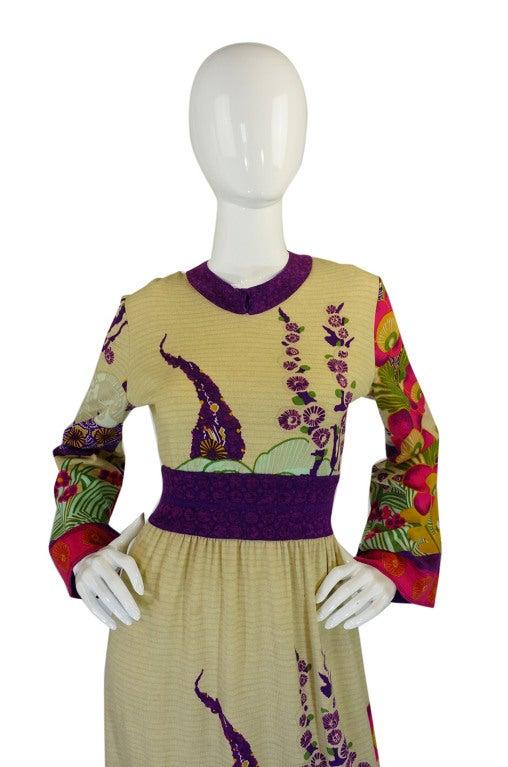 1970s Print Knit Goldworm Maxi Dress 3