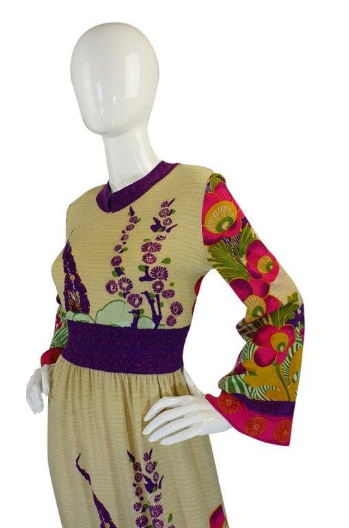 1970s Print Knit Goldworm Maxi Dress 4