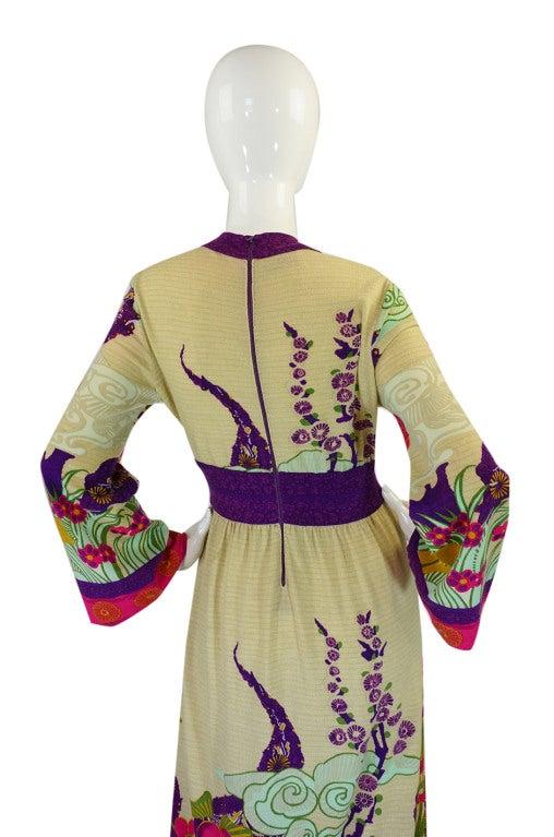 1970s Print Knit Goldworm Maxi Dress 5