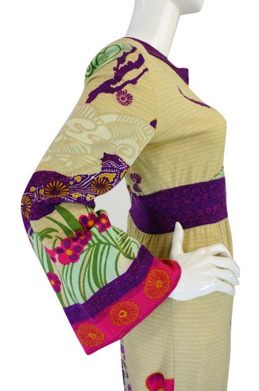 1970s Print Knit Goldworm Maxi Dress 6
