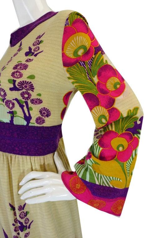 1970s Print Knit Goldworm Maxi Dress 7