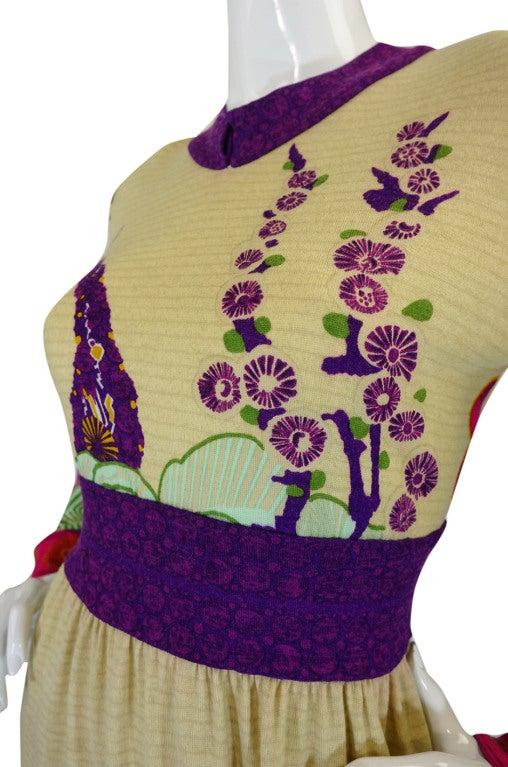 1970s Print Knit Goldworm Maxi Dress 8