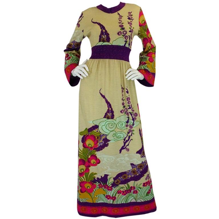 1970s Print Knit Goldworm Maxi Dress 1
