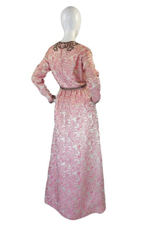 1950s Pink Brocade Ceil Chapman Gown 2
