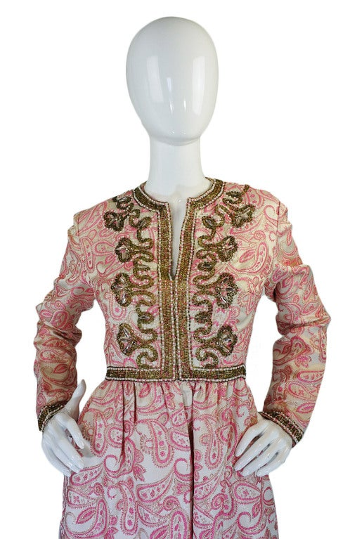 1950s Pink Brocade Ceil Chapman Gown 3
