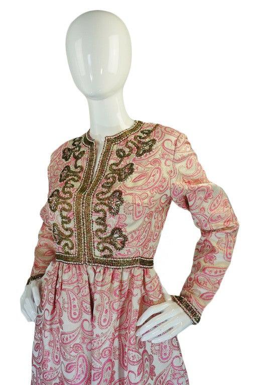 1950s Pink Brocade Ceil Chapman Gown 4
